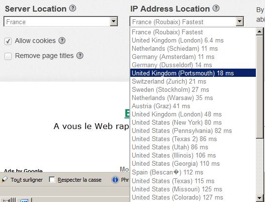 ProxFree : choix de la zone géographique
