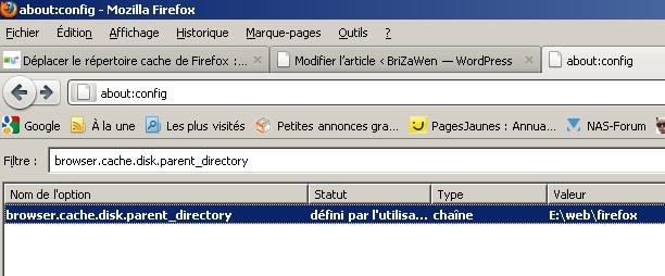 Configurer et déplacer le dossier où sont situés les fichiers du cache du navigateur Firefox