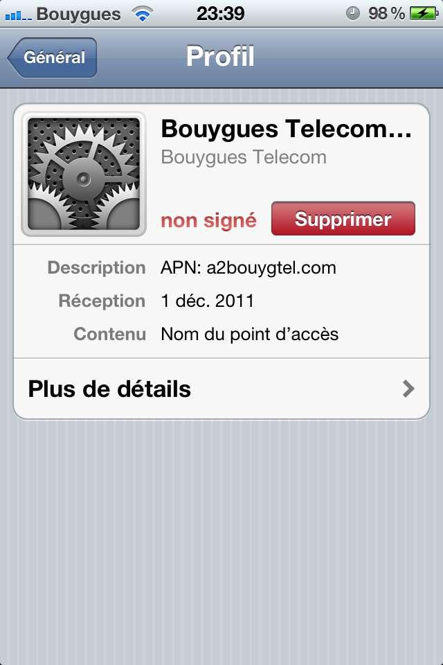 installer et configurer l'APN a2bouygtel.com de Bouygues Telecom