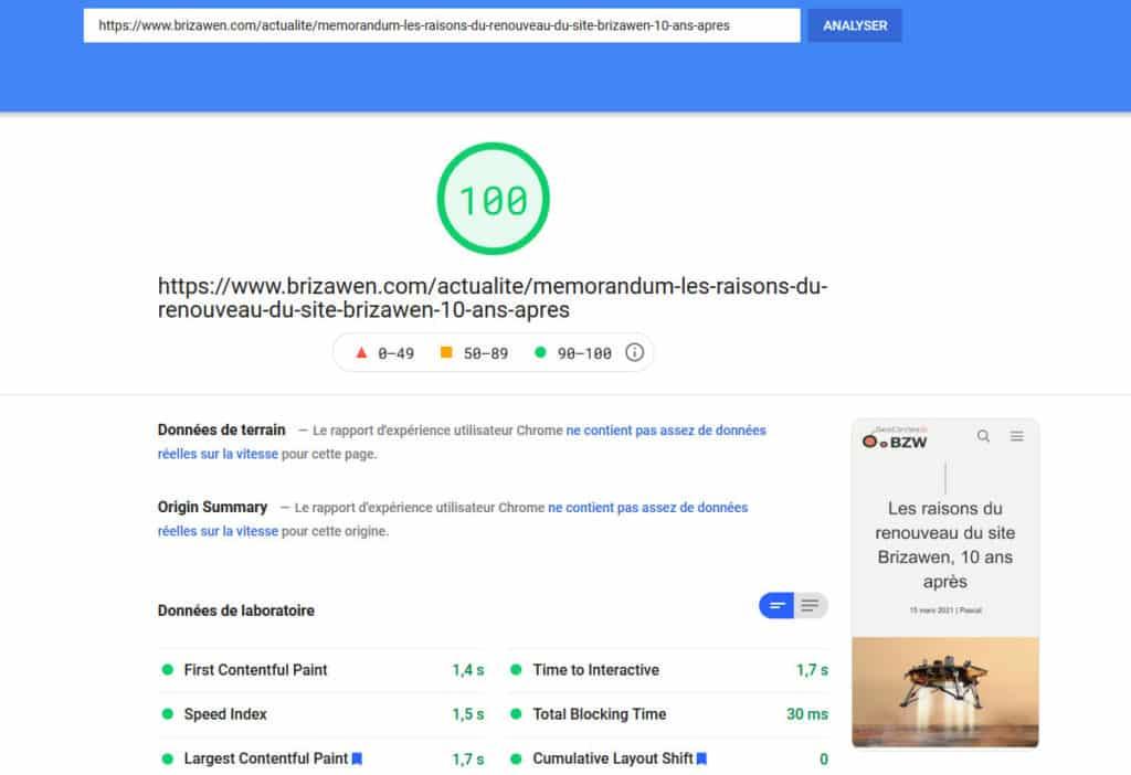 Vitesse mobile de PageSpeed Insights de Google du site Brizawen