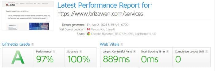 Vitesse sur Gtmetrix du site Brizawen