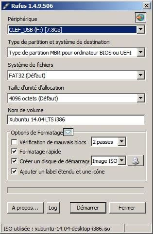 Paramétrer le logiciel rufus