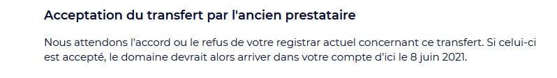 Étape 3 du transfert d'un nom de domaine vers un autre registrar