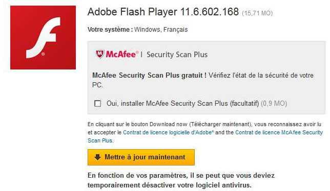Mise à jour Flash et installation forcée de logiciels publicitaires
