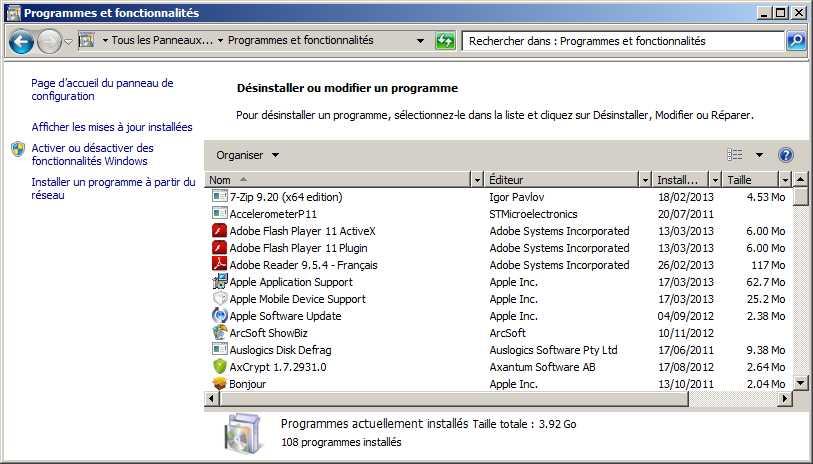 Désisntallation d'un logiciel publicitaire sous Windows